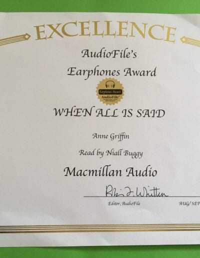 Audiofile Magazine Excellence award